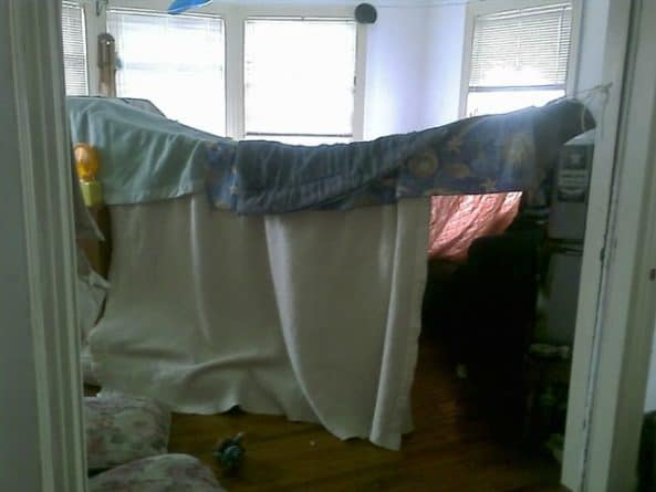 Making a blanket fort is a fun, harmless way for children to stay busy while you can still keep an eye on them.