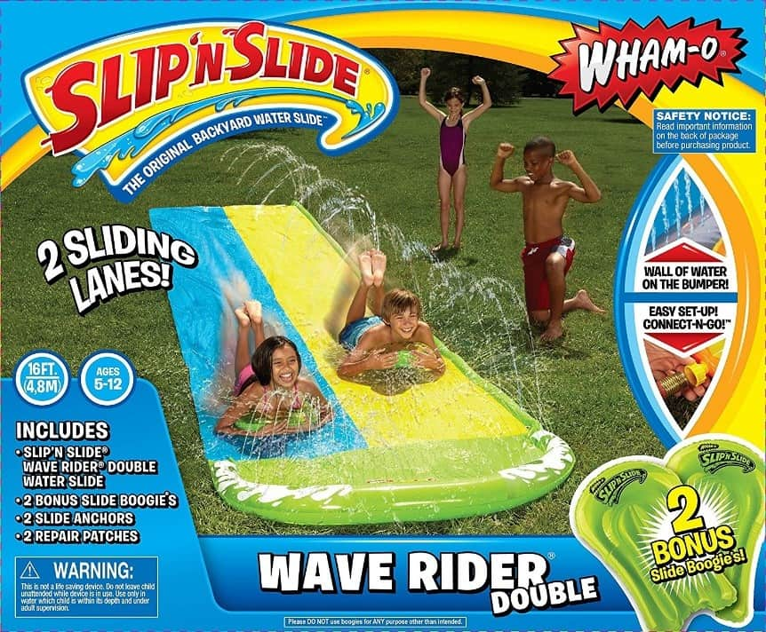 Slip N' Slide is a fun kids activity that requires nothing more than a hose and a hot day.