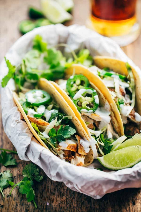 These Ancho Chicken Tacos are a great combination of fresh flavors, and they taste like a treat even though they're high in protein and surprisingly low in calories.