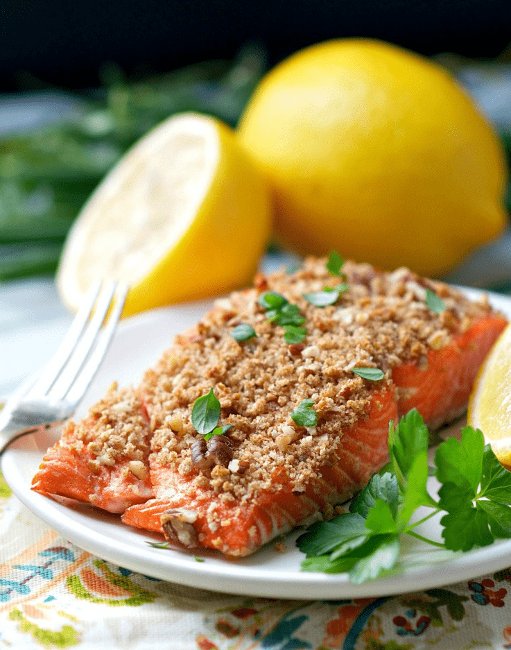 Maple crusted salmon is a really delicious way to eat healthy!