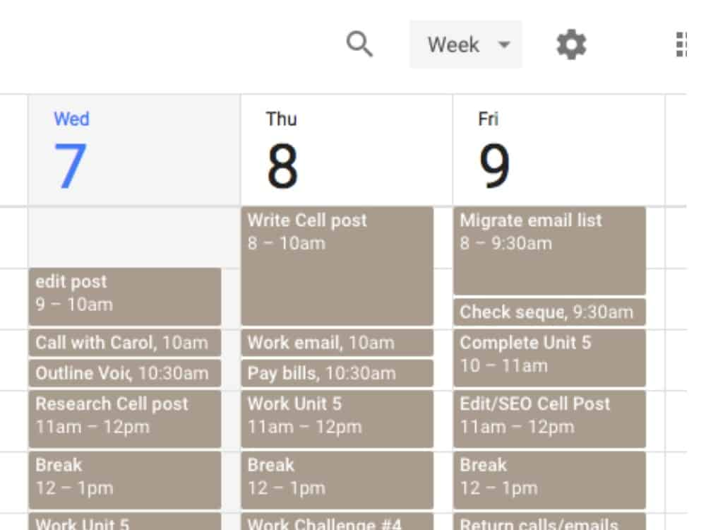 It's easy to setup a simple time block schedule in Google Calendar and receive automated alerts.