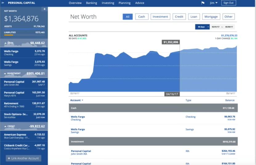 Personal Capital is a FREE and really powerful app that can give you a snapshot of your overall finances on one screen.