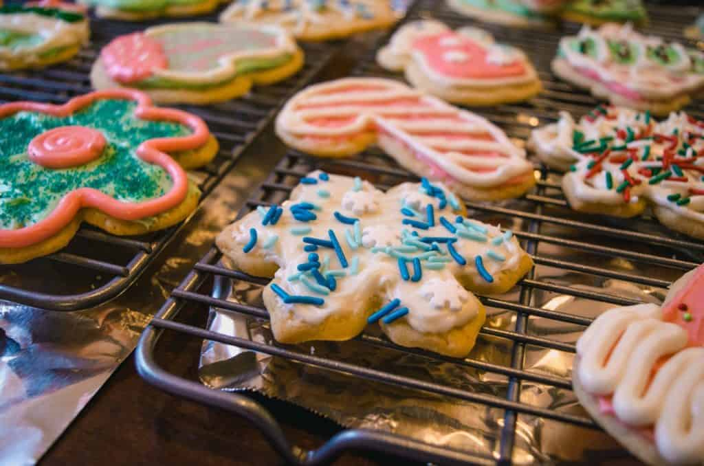 A great frugal Christmas gift idea can be getting together with friends or family, sharing recipes and then exchanging cookies as gifts. Everyone goes home with some, and nobody has spent more than a few dollars.