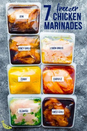 Having several marinades can not only help to make easy freezer meals, they can make your family forget they're eating chicken several nights a week.