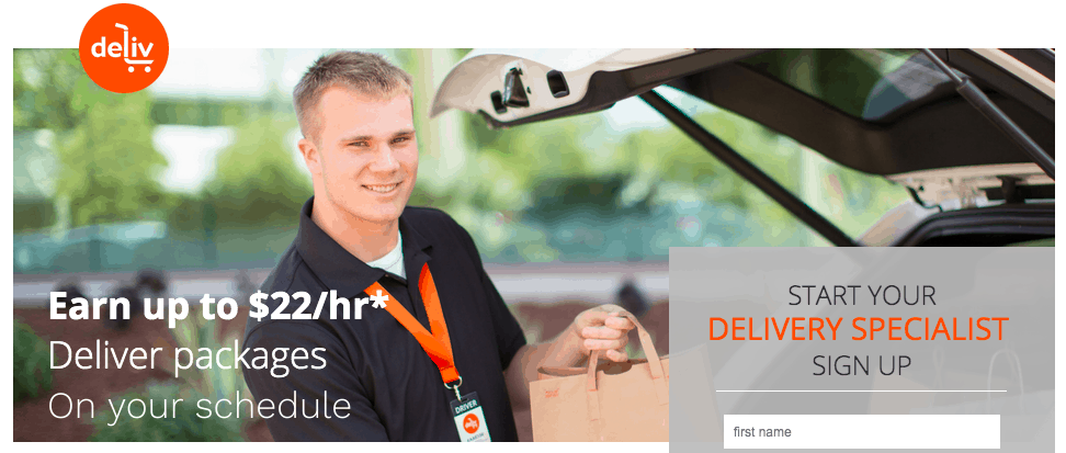 Deliv is great way to make extra money. It works like a food delivery job, but you'll have the opportunity to pick up and deliver a larger range of products.