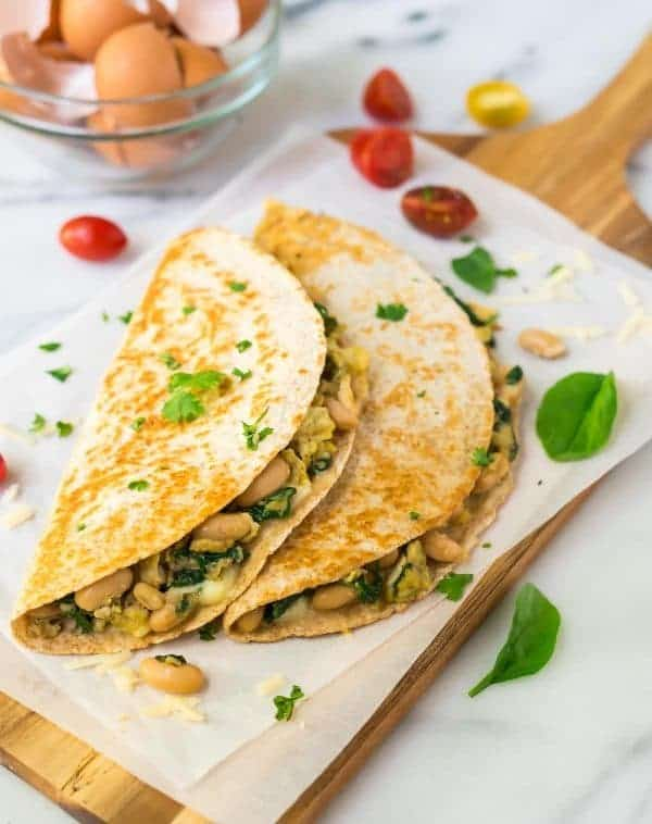 Breakfast quesadillas are a great frozen breakfast to have on hand, because they're loaded with protein, heat up really quick, and are delicious.