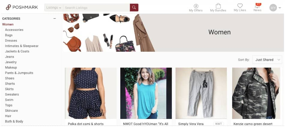 Poshmark is one site you'll want to check out if you're selling clothes online, as they specialize in second-hand clothing sales.