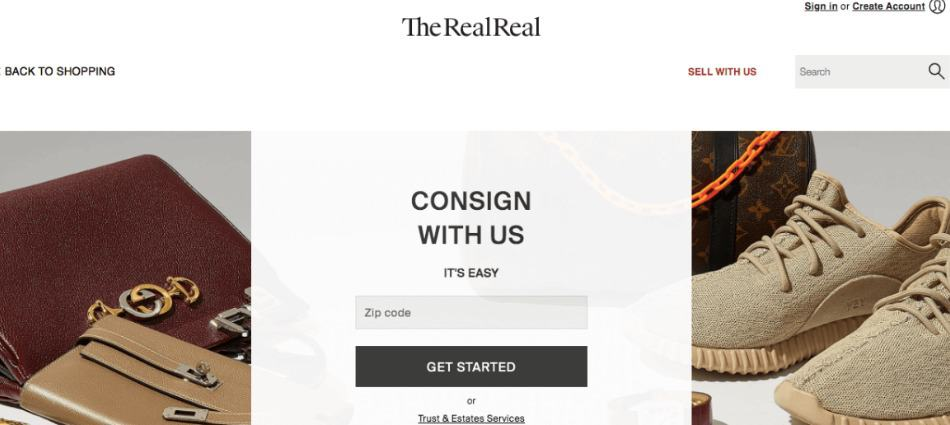 The RealReal site is for selling clothes online, and offers a large buyer community with relatively low fees.