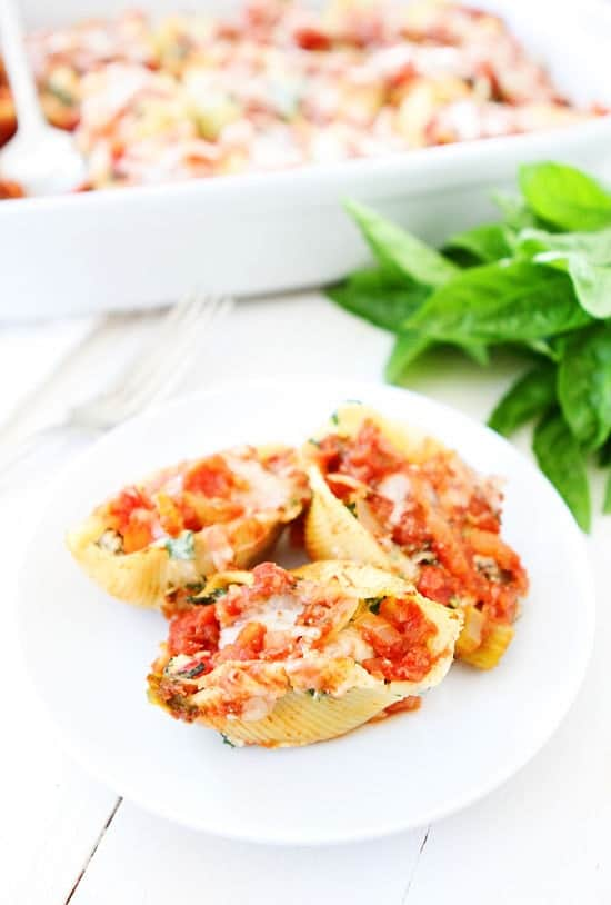 Roasted vegetable stuffed shells is a great vegan freezer meal, and they're so full of flavor you'll probably want to freeze a few pans of them.