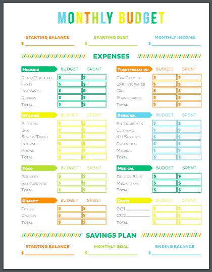 This budget template works well if you prefer to write in your expenses.