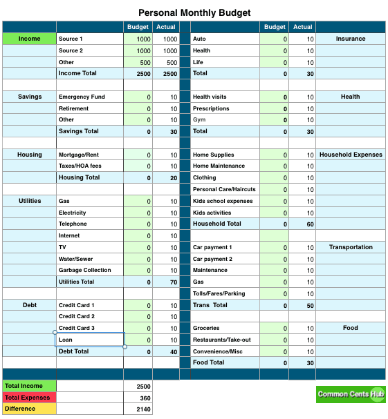 This budget template spreadsheet is easy to use and auto-totals your expenses. It also includes an auto-totaling net worth calculator.