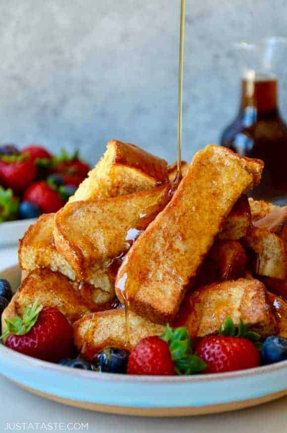 Baked french toast sticks is such an easy freezer meal to make ahead, and is a nice treat to pull out of the freezer, microwave and sit down to in about a minute.