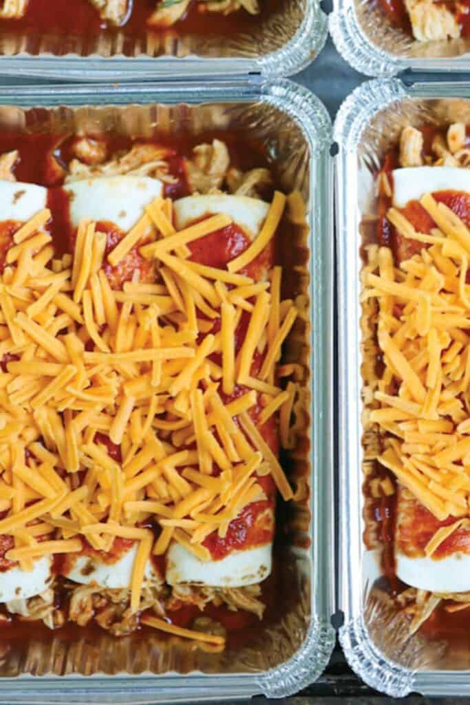 Enchiladas are always a treat, but these are also an easy freezer meal to put together, and there's no cleanup when you're done!