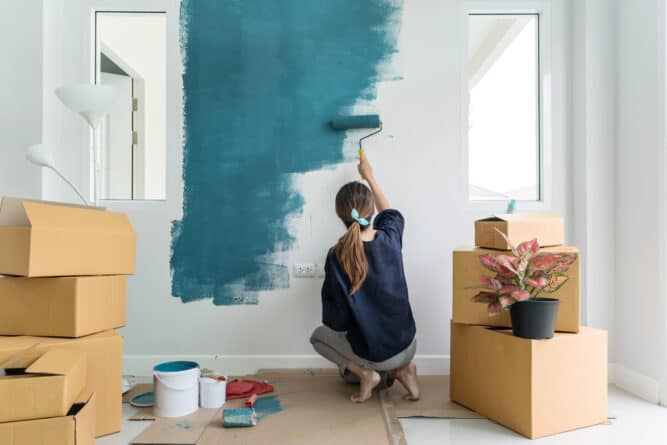 Painting even one wall can give a room a whole new feel for about $30 and a couple hours of time.