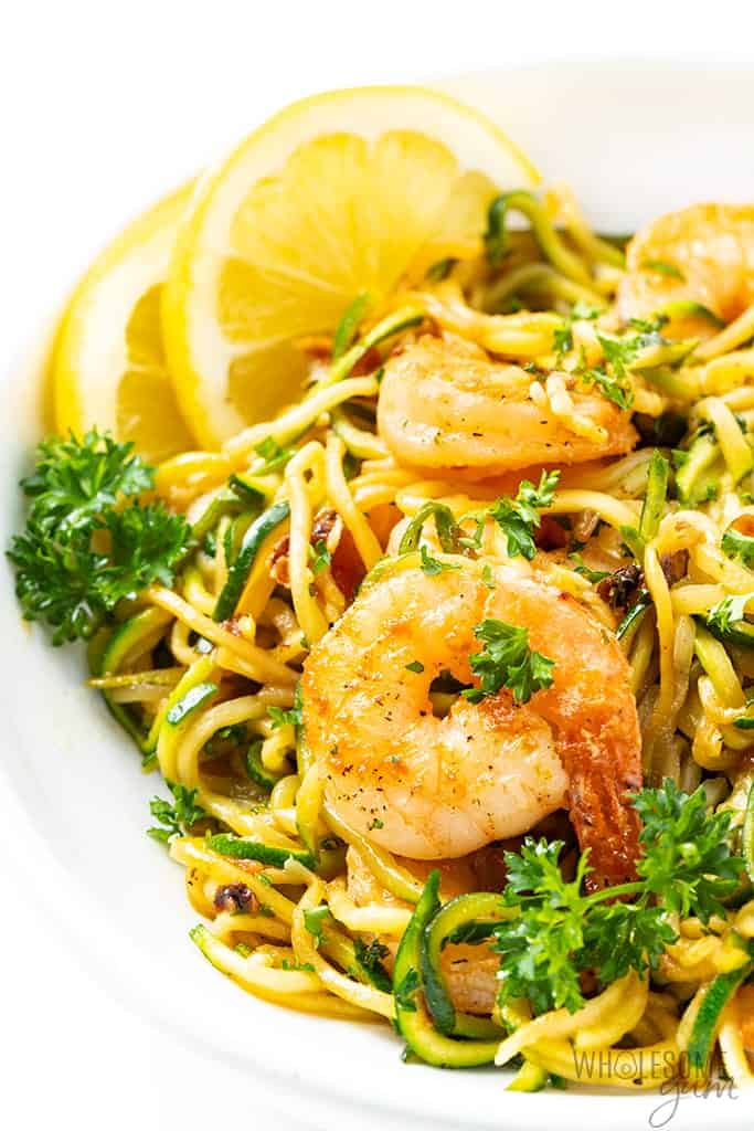 This version of shrimp scampi is full of fresh flavors, but it's made with zucchini noodles for much lower carbs than traditional shrimp scampi.