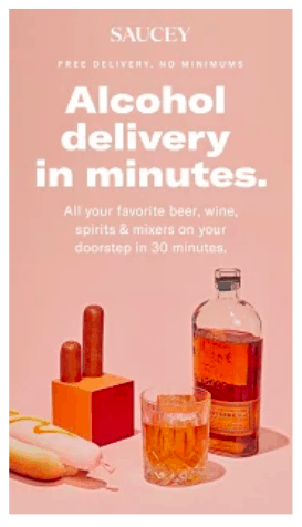 Saucey operates just like a food delivery job, except that you'll deliver liquor instead of food.