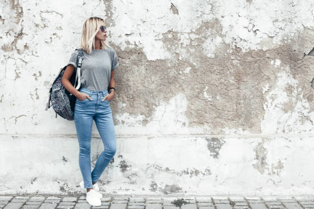 When you sell old clothes online, it can really help to photograph them while someone is wearing them. The buyer can get a much better idea of how they will look.