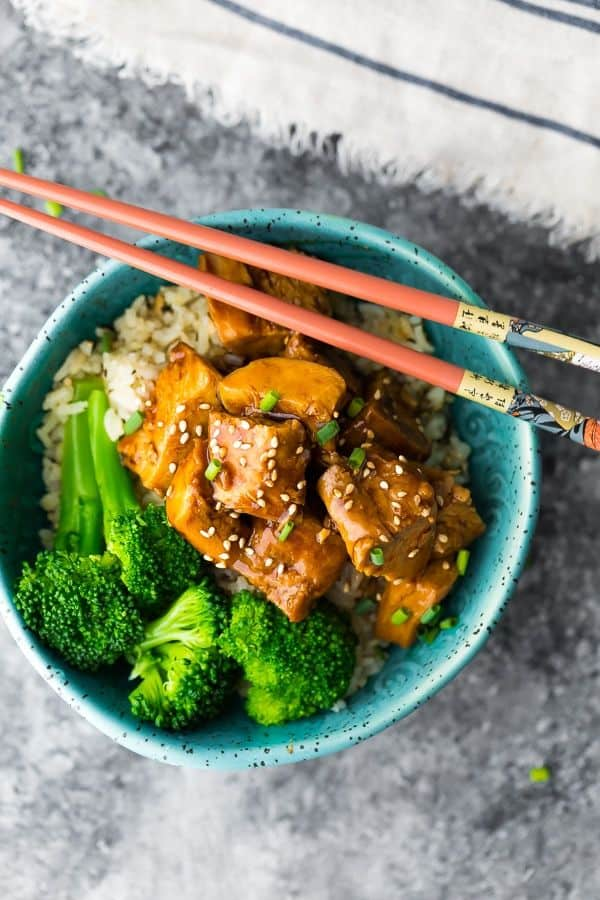 Teriyaki chicken is an easy freezer meal to prep and cook. The chicken is surprisingly moist, and the sauce is delicious.